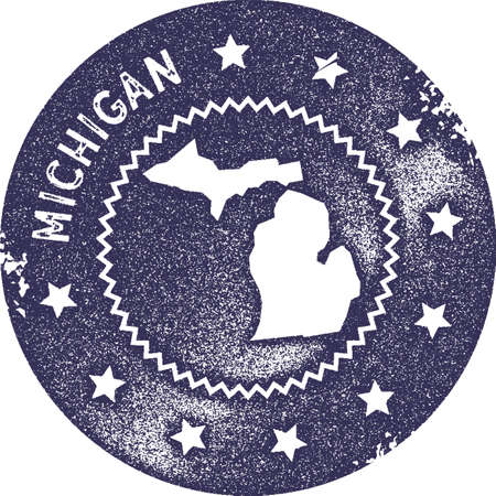 Michigan map vintage stamp. Retro style handmade label, badge or element for travel souvenirs. Deep purple rubber stamp with us state map