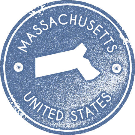 Massachusetts map vintage stamp. Retro style handmade label, badge or element for travel souvenirs. Light blue rubber stamp with us state map