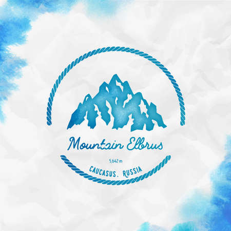 Round hiking turquoise vector insignia. Elbrus in Caucasus, Russia outdoor adventure illustration. Climbing, trekking, hiking, mountaineering and other extreme activities 向量圖像