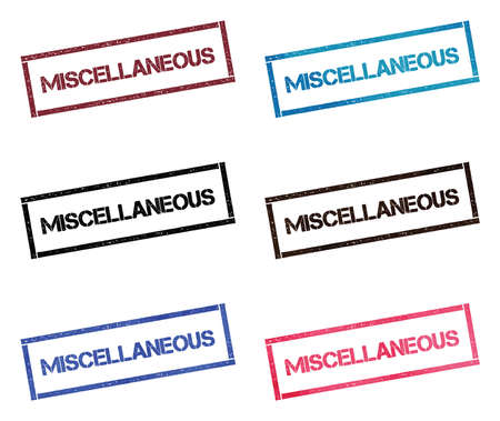 Miscellaneous rectangular stamp collection. Textured seals with text isolated on white backgound. Stamps in turquoise, red, blue, black and sepia colors.