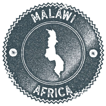 Malawi map vintage stamp. Retro style handmade label, badge or element for travel souvenirs. Dark blue rubber stamp with country map