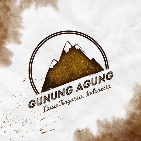 Round mountain sepia vector insignia. Gunung Agung in Nusa Tengarra, Indonesia outdoor adventure illustration. 일러스트
