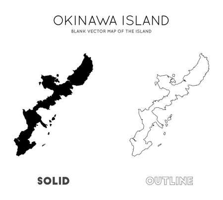 Okinawa Island map. Blank vector map of the Island. Borders of Okinawa Island for your infographic. Vector illustration. Ilustracja