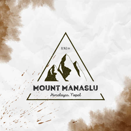 Triangular mountain sepia vector insignia. Manaslu in Himalayas, Nepal outdoor adventure illustration.