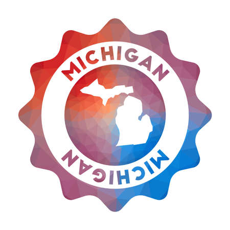 Michigan low poly. Colorful gradient travel of the us state in geometric style. Multicolored polygonal Michigan rounded sign with map for your infographics. 向量圖像