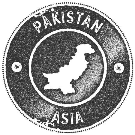 Pakistan map vintage stamp. Retro style handmade label, badge or element for travel souvenirs. Dark grey rubber stamp with country map silhouette. Vector illustration.