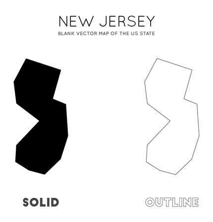 New Jersey map. Blank vector map of the Us State. Borders of New Jersey for your infographic. Vector illustration.