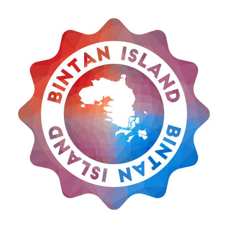 Bintan Island low poly. Colorful gradient travel of the island in geometric style. Multicolored polygonal Bintan Island rounded sign with map for your infographics. Illustration
