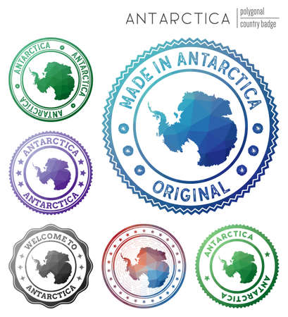 Antarctica badge. Colorful polygonal country symbol. Multicolored geometric Antarctica set. Vector illustration.
