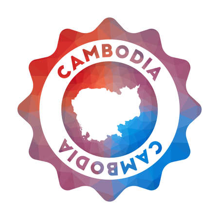 Cambodia low poly. Colorful gradient travel of the country in geometric style. Multicolored polygonal Cambodia rounded sign with map for your infographics. 向量圖像