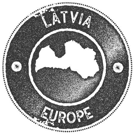 Latvia map vintage stamp. Retro style handmade label, badge or element for travel souvenirs. Dark grey rubber stamp with country map silhouette. Vector illustration.