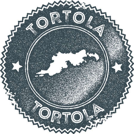 Tortola map vintage stamp. Retro style handmade label, badge or element for travel souvenirs. Dark blue rubber stamp with island map