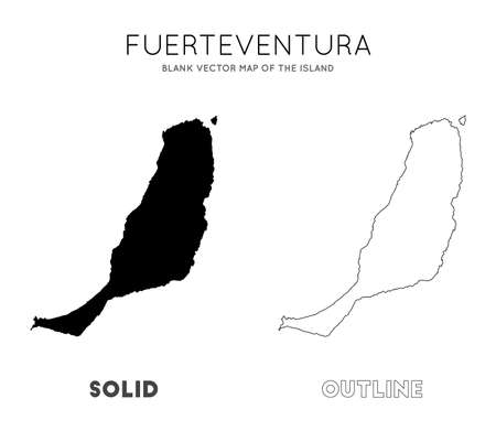 Fuerteventura map. Blank vector map of the Island. Borders of Fuerteventura for your infographic. Vector illustration.
