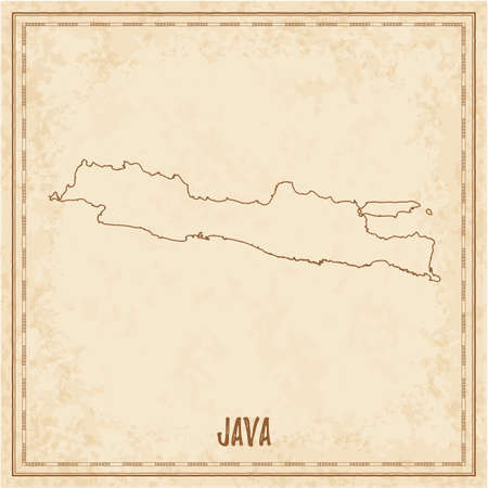Pirate map of Java. Blank vector map of the Island. Vector illustration. Illustration