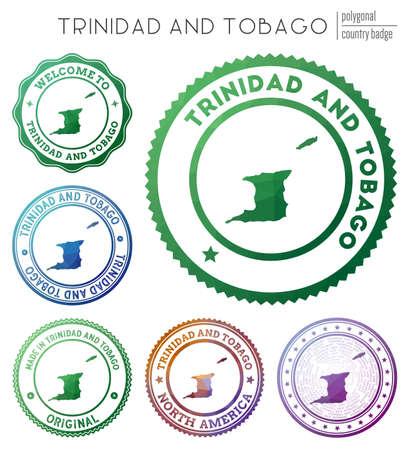 Trinidad and Tobago badge. Colorful polygonal country symbol. Multicolored geometric Trinidad and Tobago  イラスト・ベクター素材