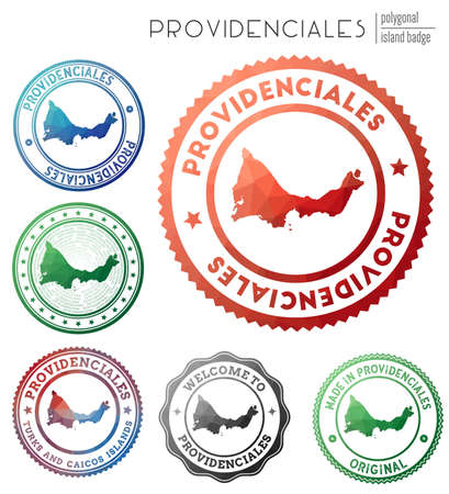 Providenciales badge. Colorful polygonal island symbol. Multicolored geometric Providenciales