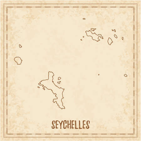 Pirate map of Seychelles. Blank vector map of the Island. Vector illustration.