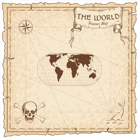 World treasure map. Pirate navigation atlas. Eckert IV projection. Old map vector.