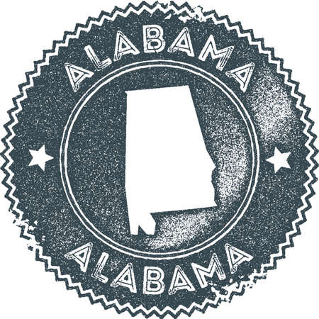 Alabama map vintage stamp. Retro style handmade label, badge or element for travel souvenirs. Dark blue rubber stamp with us state map