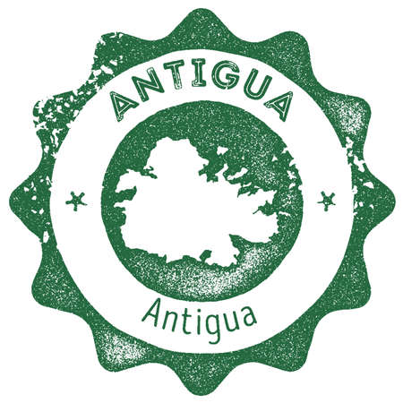 Antigua map vintage stamp. Retro style handmade label, badge or element for travel souvenirs. Dark green rubber stamp with island map