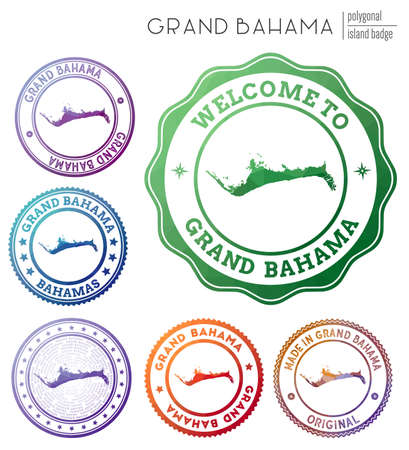 Grand Bahama badge. Colorful polygonal island symbol. Multicolored geometric Grand Bahama set. Vector illustration. Illusztráció