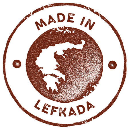 Lefkada map vintage stamp. Retro style handmade label, badge or element for travel souvenirs. Red rubber stamp with island map Ilustrace