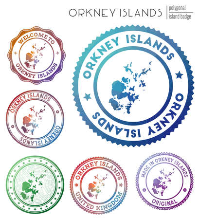 Orkney Islands badge. Colorful polygonal island symbol. Multicolored geometric Orkney Islands set. Vector illustration. Illusztráció
