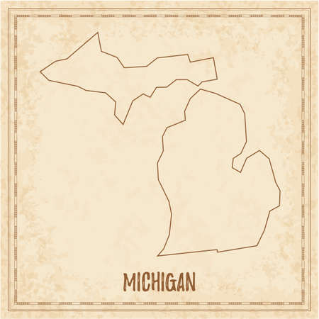 Pirate map of Michigan. Blank vector map of the Us State. Vector illustration.