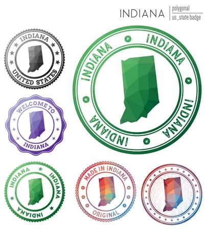 Indiana badge. Colorful polygonal us state symbol. Multicolored geometric Indiana set. Vector illustration.