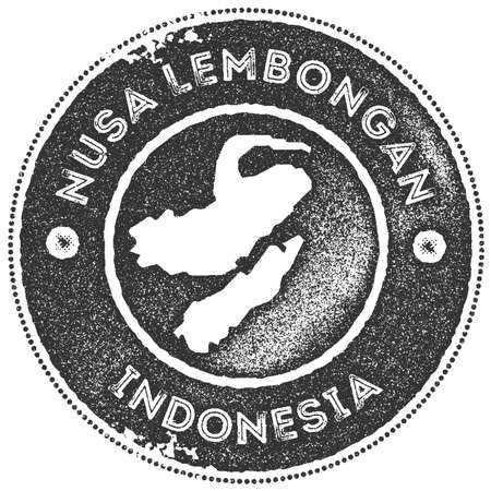 Nusa Lembongan map vintage stamp. Retro style handmade label, badge or element for travel souvenirs. Dark grey rubber stamp with island map silhouette. Vector illustration.