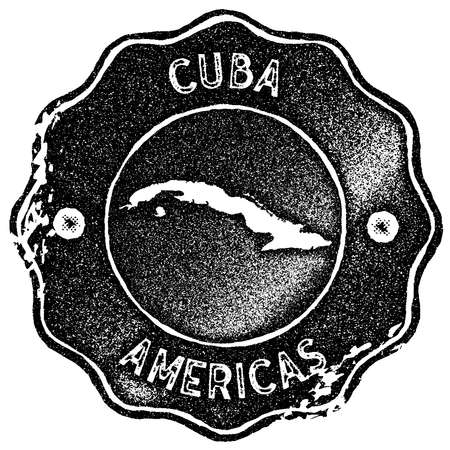 Cuba map vintage stamp. Retro style handmade label, badge or element for travel souvenirs. Black rubber stamp with country map silhouette. Vector illustration.