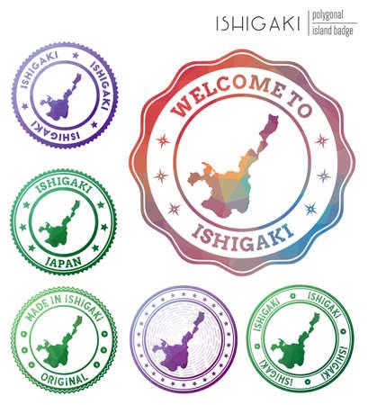 Ishigaki badge. Colorful polygonal island symbol. Multicolored geometric Ishigaki set. Vector illustration. Ilustracja