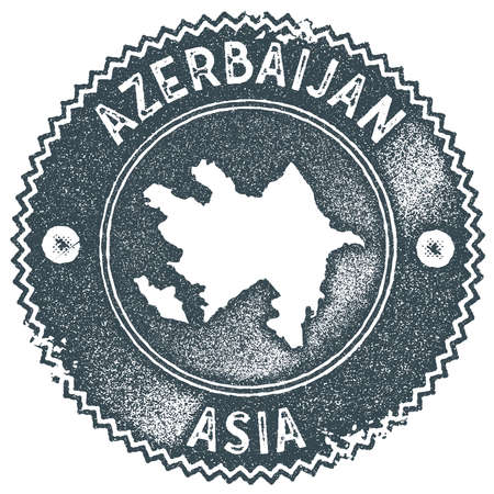 Azerbaijan map vintage stamp. Retro style handmade label, badge or element for travel souvenirs. Dark blue rubber stamp with country map