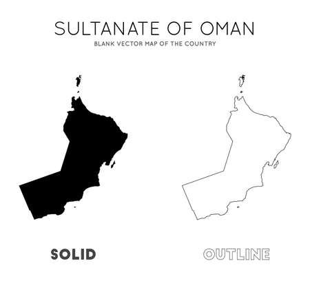 Oman map. Blank vector map of the Country. Borders of Oman for your infographic. Vector illustration.