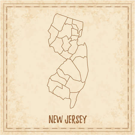 Pirate map of New Jersey. Blank vector map of the Us State with counties. Vector illustration.