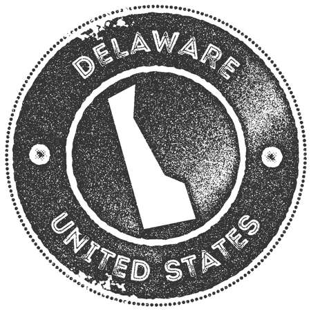 Delaware map vintage stamp. Retro style handmade label, badge or element for travel souvenirs. Dark grey rubber stamp with us state map silhouette. Vector illustration.