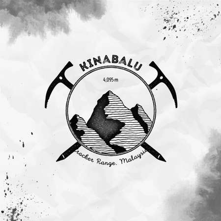 Climbing mountain black vector insignia. Kinabalu in Crocker Range, Malaysia outdoor adventure illustration.
