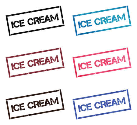 Ice cream rectangular stamp collection. Textured seals with text isolated on white backgound. Stamps in turquoise, red, blue, black and sepia colors. Ilustração