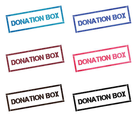 Donation box rectangular stamp collection. Textured seals with text isolated on white backgound. Stamps in turquoise, red, blue, black and sepia colors. Иллюстрация