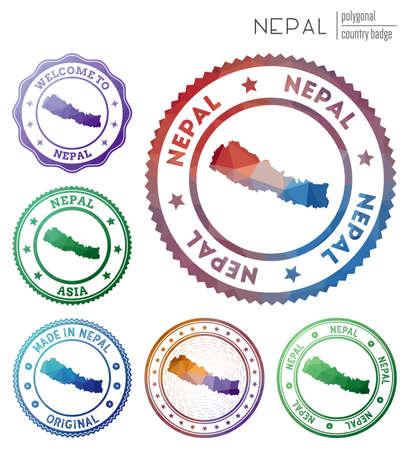 Nepal badge. Colorful polygonal country symbol. Multicolored geometric Nepal set. Vector illustration.
