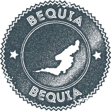 Bequia map vintage stamp. Retro style handmade label, badge or element for travel souvenirs. Dark blue rubber stamp with island map