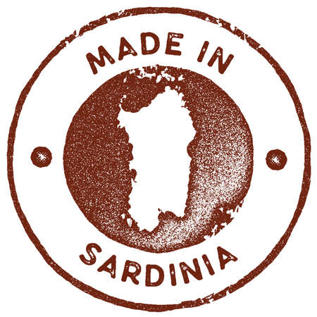 Sardinia map vintage stamp. Retro style handmade label, badge or element for travel souvenirs. Red rubber stamp with island map