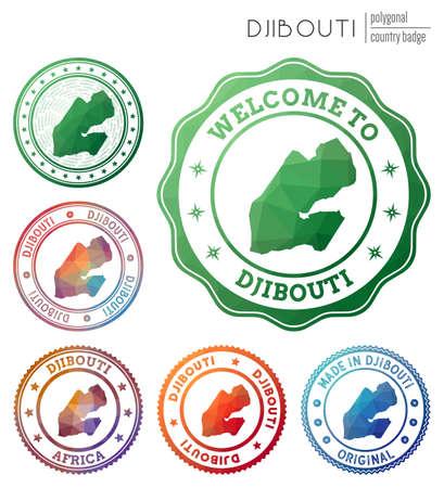 Djibouti badge. Colorful polygonal country symbol. Multicolored geometric Djibouti set. Vector illustration.