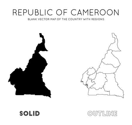 Cameroon map. Blank vector map of the Country with regions. Borders of Cameroon for your infographic. Vector illustration.