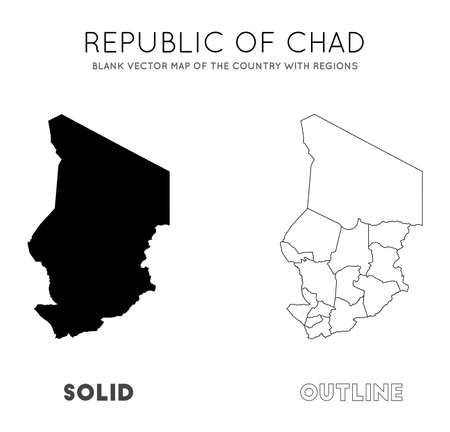 Chad map. Blank vector map of the Country with regions. Borders of Chad for your infographic. Vector illustration. Çizim