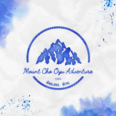 Round hiking blue vector insignia. Cho Oyu in Himalayas, Nepal outdoor adventure illustration. Climbing, trekking, hiking, mountaineering and other extreme activities watercolor. Иллюстрация