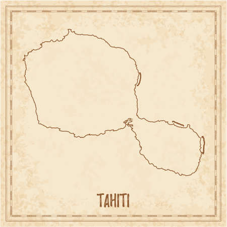 Pirate map of Tahiti. Blank vector map of the Island. Vector illustration.