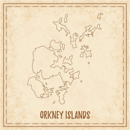 Mapa pirata de las Islas Orcadas. Mapa de vectores en blanco de la isla. Ilustración vectorial.
