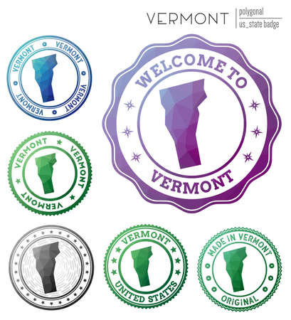 Vermont badge. Colorful polygonal us state symbol. Multicolored geometric Vermont set. Vector illustration.