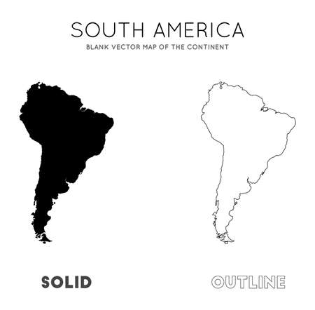 South America map. Blank vector map of the Continent. Borders of South America for your infographic. Vector illustration.